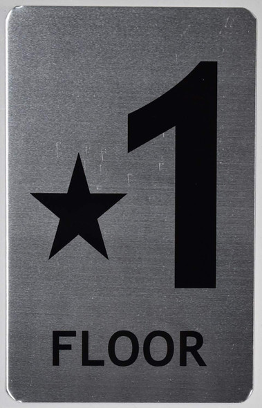 Star Floor ONE Number Sign (Brush