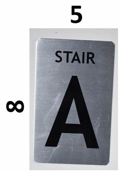 SIGNS Stair A Sign (Brush Aluminium, 5X8)-The