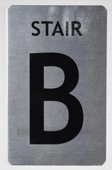 Stair B Sign (Brush Aluminium, 5X8)-The