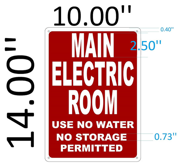 SIGNS Main Electric Room Sign (Reflective, 10x14,