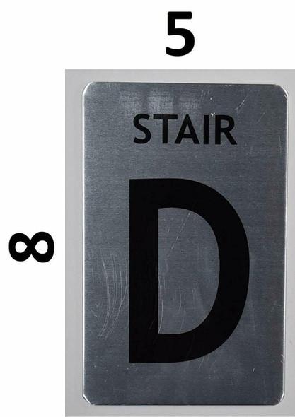 SIGNS Stair D Sign (Brush Aluminium, 5X8)-The