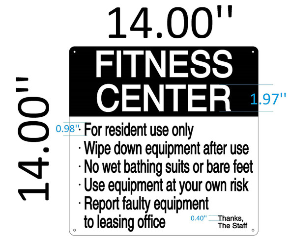 SIGNS Fitness Center SIGN ( RUST Free