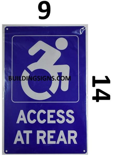 ADA-Access at Rear Sign (Blue,Aluminium, 9x14)-The