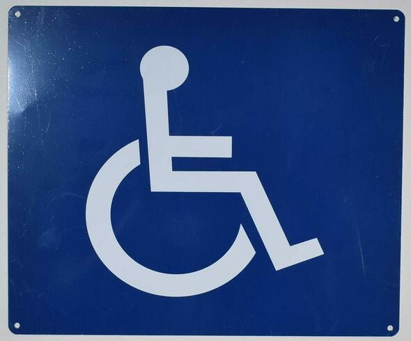 SIGNS ADA-Wheelchair Accessible Guide Sign (White/Blue,Aluminium, 10x12)-The