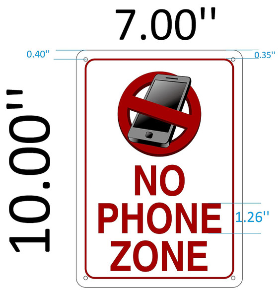 SIGNS NO PHONE ZONE SIGN ( RUST