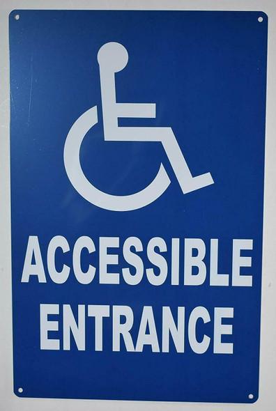 SIGNS Wheelchair Accessible Entrance SIGN (Blue,Aluminium, 9x14)-The