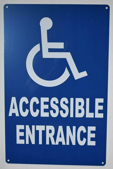 Wheelchair Accessible Entrance SIGN (Blue,Aluminium, 9x14)-The