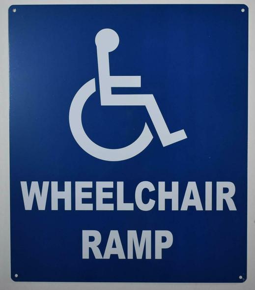 Wheelchair Accessible Ramp SIGN (Blue,Aluminium, 12x14)-The