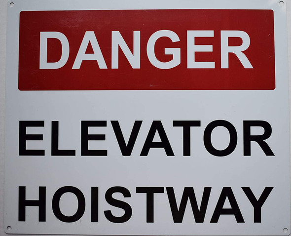 Danger Elevator Hoistway Sign (White Background,Aluminium,