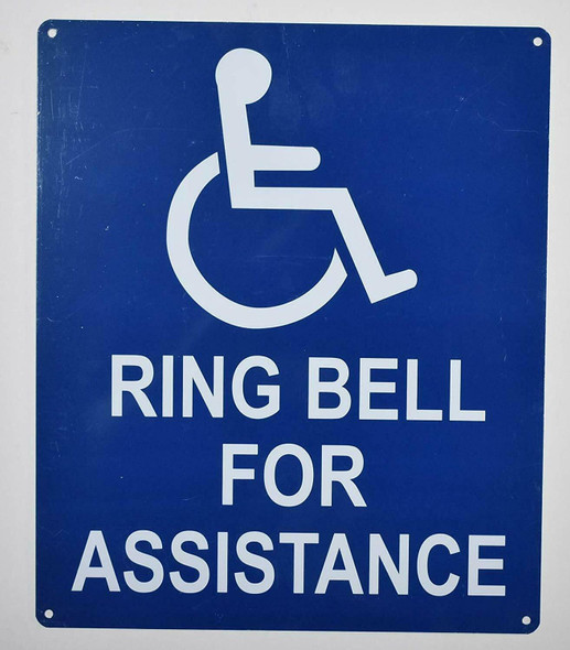 SIGNS Ring Bell for Assistance ADA-Sign (White/Blue,Aluminium,