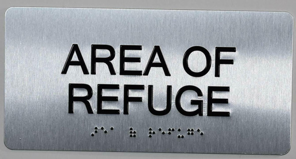 SIGNS Area of Refugee Sign Silver-Tactile Touch