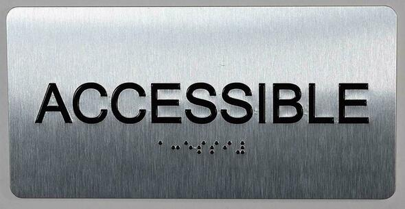 SIGNS ACCESSIBLE Sign Silver-Tactile Touch Braille Sign