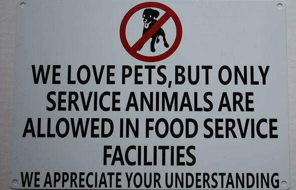 SIGNS No Pets Allowed in Food Service