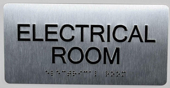 SIGNS Electrical Room Sign Silver-Tactile Touch Braille
