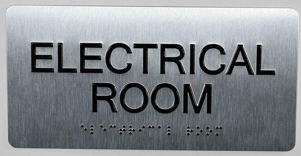 Electrical Room Sign Silver-Tactile Touch Braille