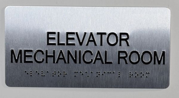 Elevator Mechanical Sign Silver-Tactile Touch Braille