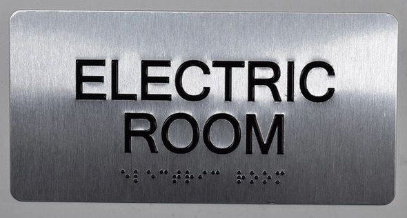 SIGNS Electric Room Silver-Tactile Touch Braille Sign