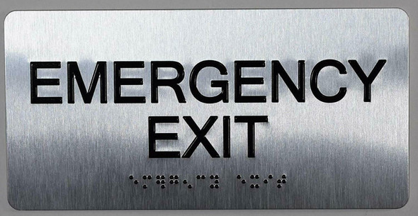 SIGNS Emergency EXIT Sign Silver-Tactile Touch Braille