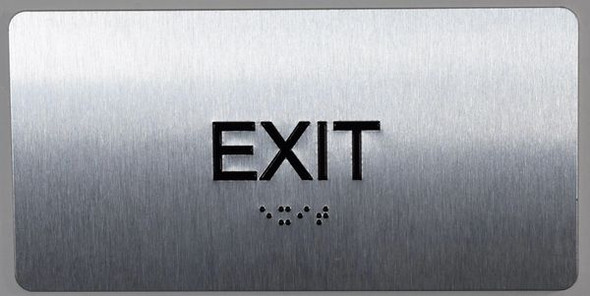 SIGNS EXIT Sign Silver-Tactile Touch Braille Sign