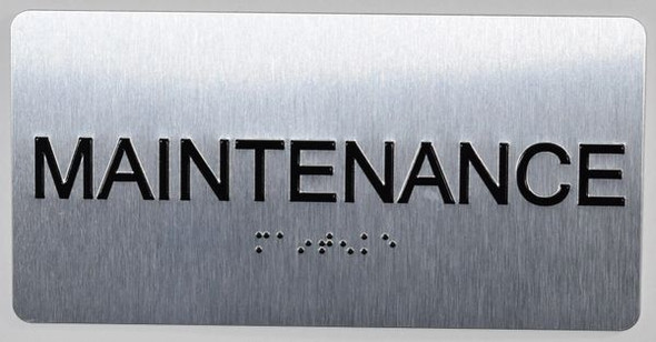 Maintenance Room Sign Silver-Tactile Touch Braille