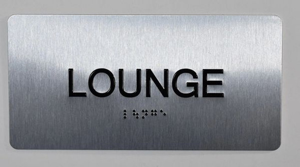 SIGNS Lounge Sign Silver-Tactile Touch Braille Sign