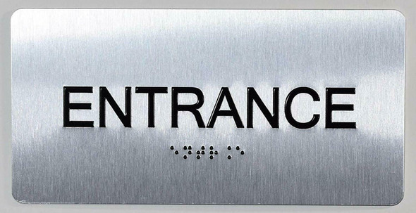SIGNS Entrance Sign Silver-Tactile Touch Braille Sign