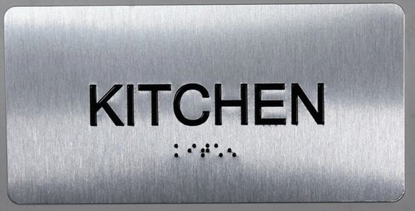 SIGNS Kitchen Sign Silver-Tactile Touch Braille Sign