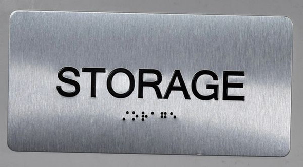 SIGNS Storage Sign Silver-Tactile Touch Braille Sign