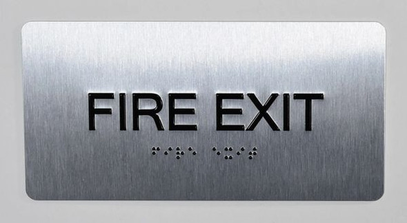 FIRE EXIT Sign Silver-Tactile Touch Braille