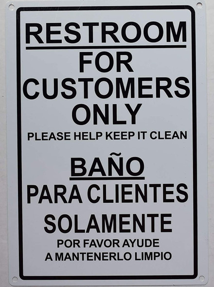 SIGNS Restroom for CUSTOMERS ONLY English/Spanish Sign