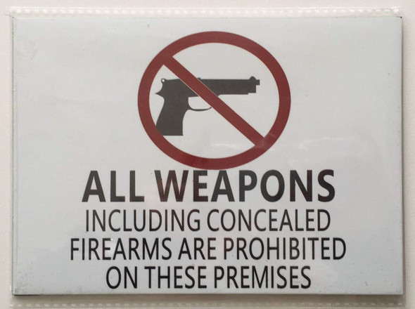 SIGNS Illinois Firearms Prohibited Sign (White Aluminum