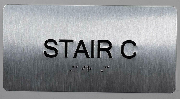 Stair C Sign Silver-Tactile Touch Braille