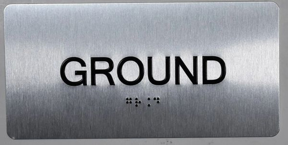 Ground Floor Sign Silver-Tactile Touch Braille