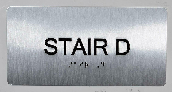 SIGNS Stair D Sign Silver-Tactile Touch Braille