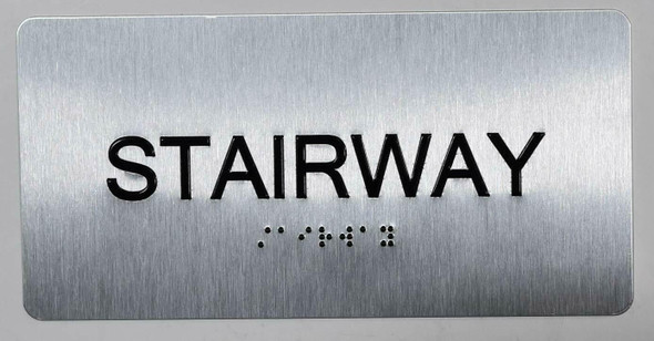 Stairway Sign Silver-Tactile Touch Braille Sign