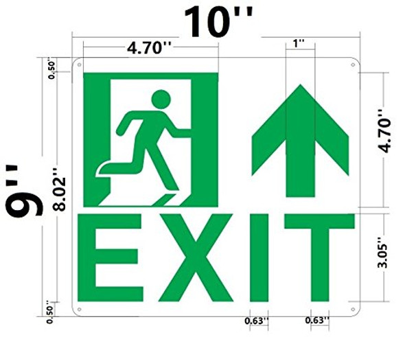 SIGNS Exit Arrow UP Sign(Glow in The