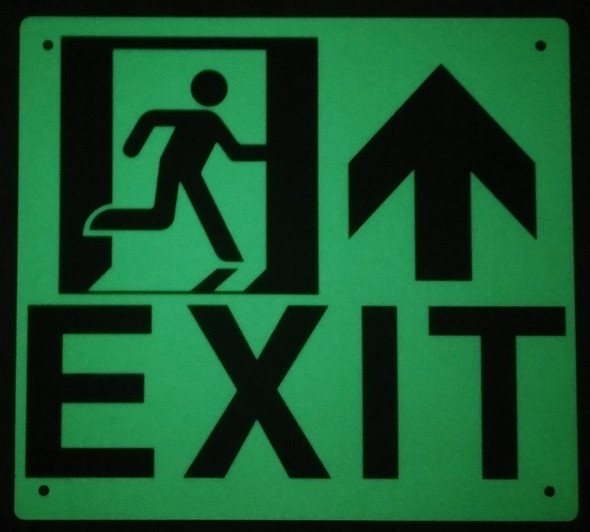 SIGNS Exit Arrow UP Left Sign(Glow in