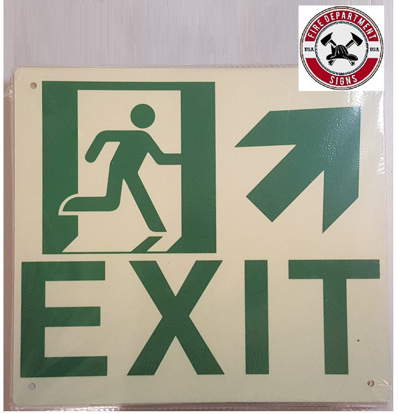 SIGNS Exit Arrow UP Right Sign(Glow in