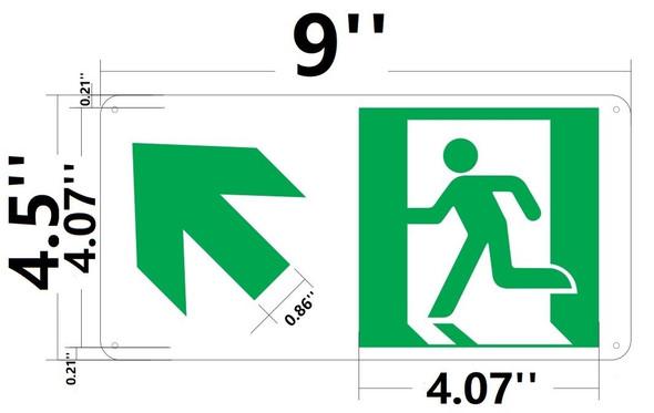 SIGNS RUNNING MAN UP LEFT ARROW SIGN