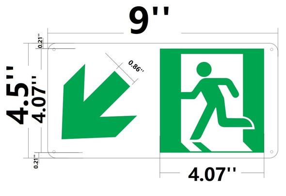 SIGNS RUNNING MAN DOWN LEFT ARROW SIGN