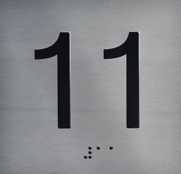 11TH Floor Elevator Jamb Plate Sign