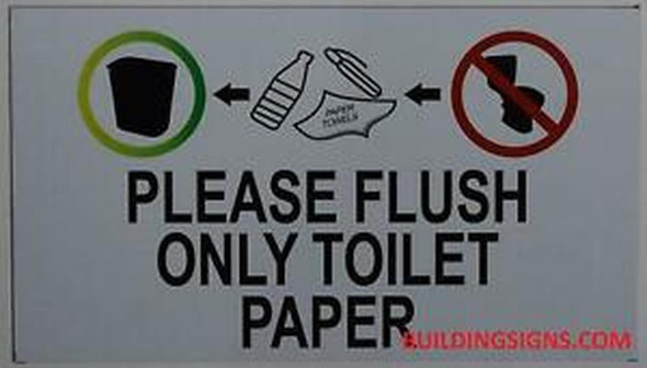 SIGNS PLEASE FLUSH ONLY TOILET PAPER SIGN-