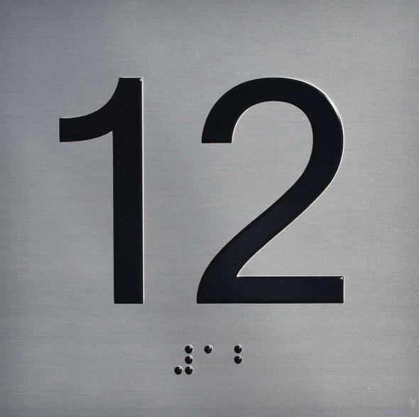 12TH Floor Elevator Jamb Plate Sign