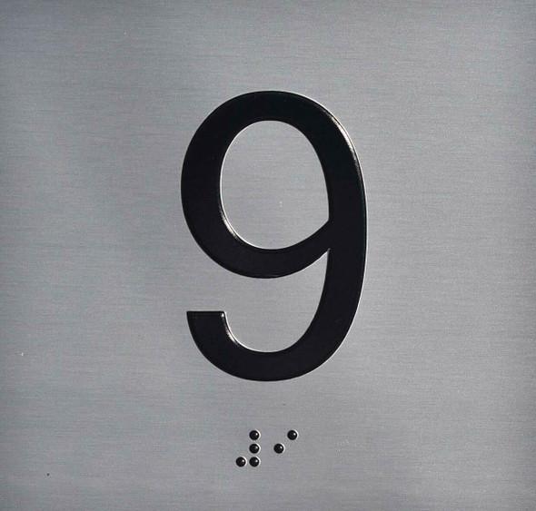 9TH Floor Elevator Jamb Plate Sign
