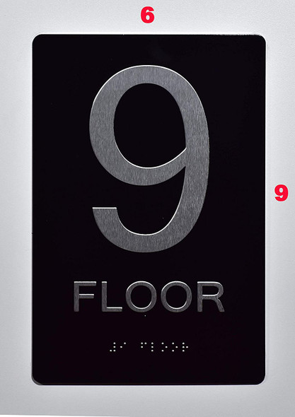 SIGNS Floor Number Sign -Tactile Signs 9TH