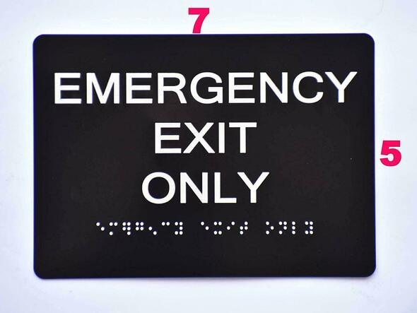SIGNS Emergency EXIT ONLY Sign Black (Aluminium,