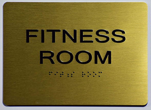 Compliance Sign-Fitness Room Sign-Gold,