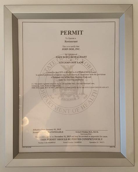 Food service establishment license Frame