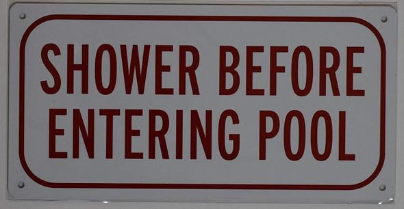Shower Before Entering Pool Sign