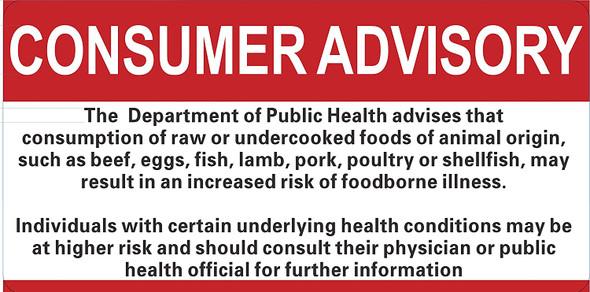 Consumer Advisory Sign